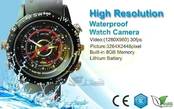 Watch Spy Camera Waterproof 8GB